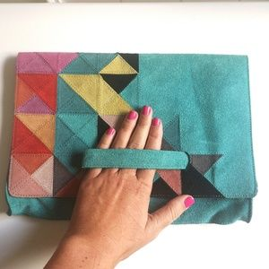 Anthropologie Bags - Stylish Colorful Suede Anthropologie Clutch